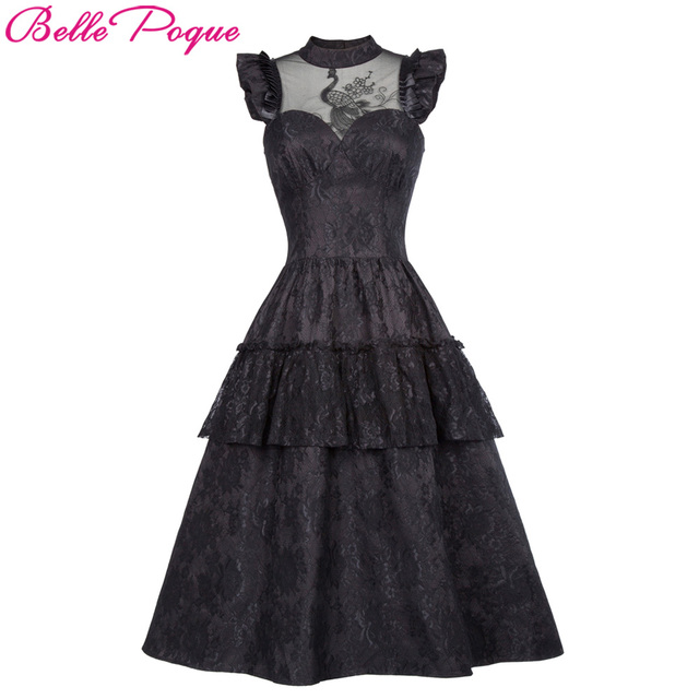 c93de0e5f72 Belle Poque Retro Black Steampunk Gothic Dress 2018 Ruffle High-Neck Lace  Up Women Summer Swing Vintage Victorian Punk Dresses