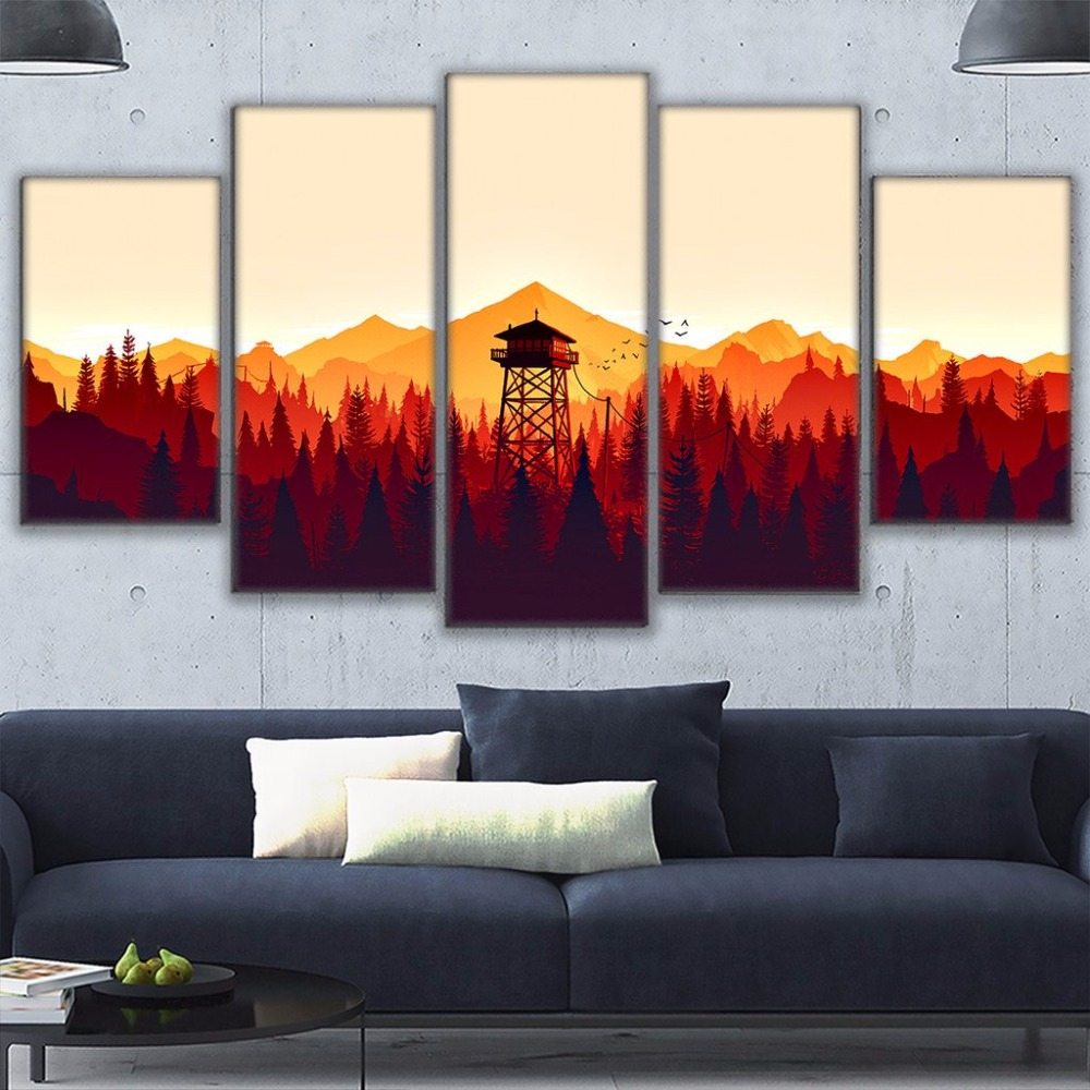 Modern Frames For Painting Modular Cheap Pictures Wall 5 Panel Game Firewatch Art For Living Room Home Decor Canvas Prints Frame For Painting Modern Framesmodern Frames For Paintings Aliexpress