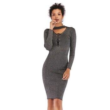 431f4fb2ad8 платье женское осень зима сарафан женский платья больших размеров платье с  запахом трикотажное платье с длинным рукавом женские платья и с.