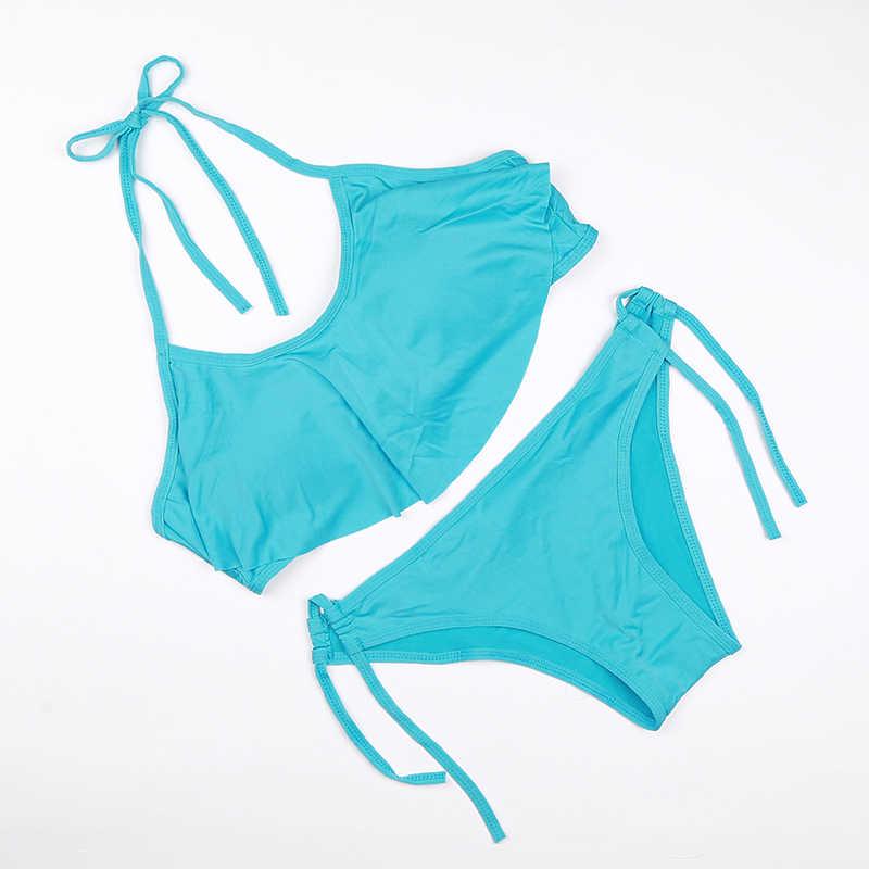 2018 Bikinis chauds ensemble taille basse maillots de bain couleur maillots de bain femmes maillot de bain maillot de bain Sexy brésilien Push UP string à volants Biquini