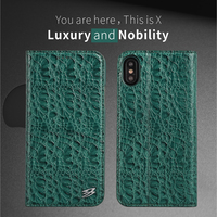 Genuine Leather Cover For IPhone X Real Top Layer Crocodile Flip Wallet Cover For IPhone X