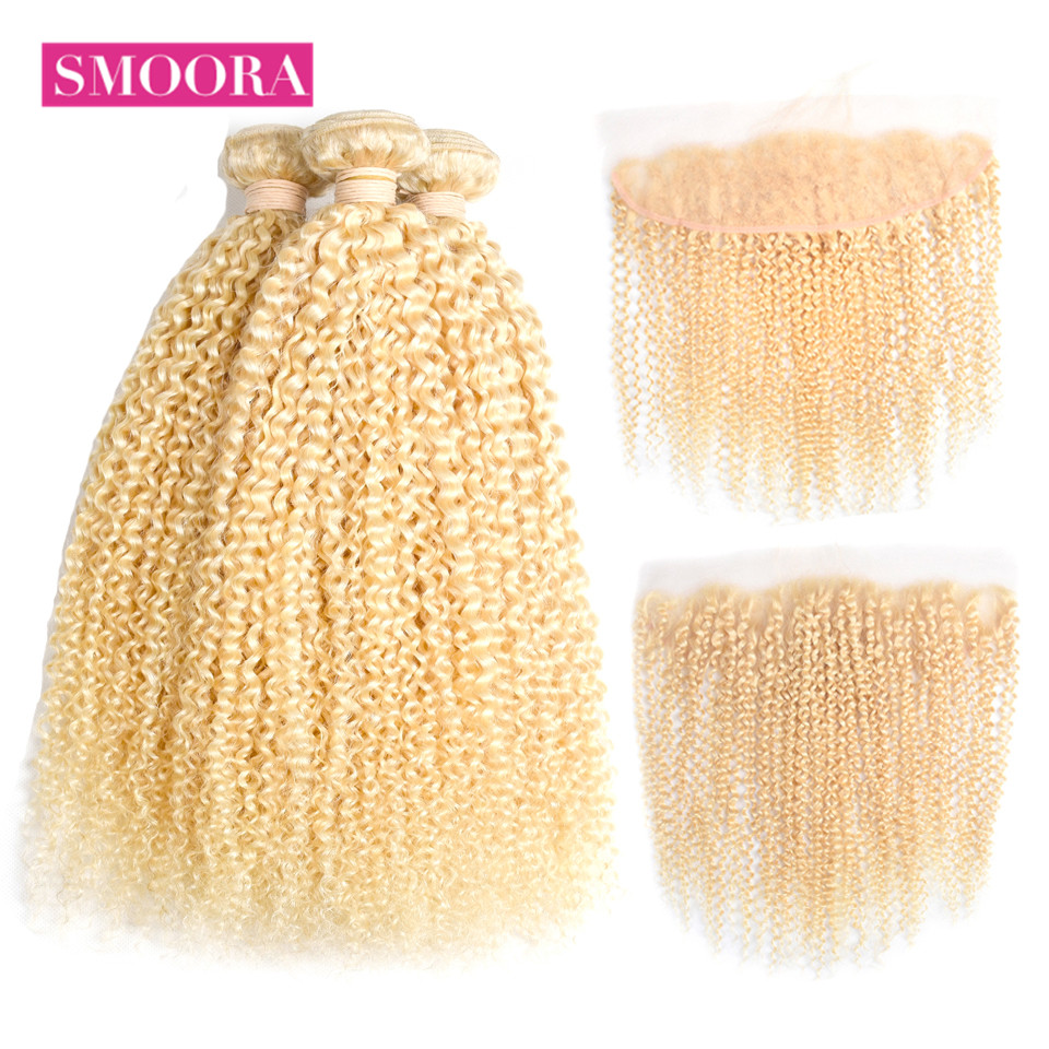 Smoora 613 Blonde Bundles With Closure Kinky Curly 3 Bundles With 13*4 Lace Frontal Closure Mongolian Non Remy Hair Weaving image