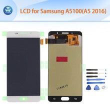 "Lcd original para samsung galaxy a5100 a5 2016 pantalla lcd táctil digitalizador asamblea negro blanco 5.2 ""A510 A510F A510M + herramienta"