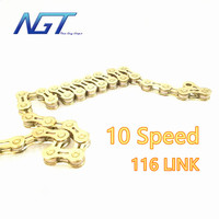 NGT 10 speeds Bike Chain Gold Color 116 links MTB Mountain Road Bike 10 Speed Bicycle Bike Chains Factory Fast Dispatched