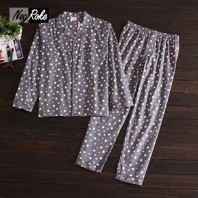2017 Spring 100% brushed cotton Mens pajamas sets Simple long-sleeve sleepwear for male pijamas para hombres Stars pyjamas mens