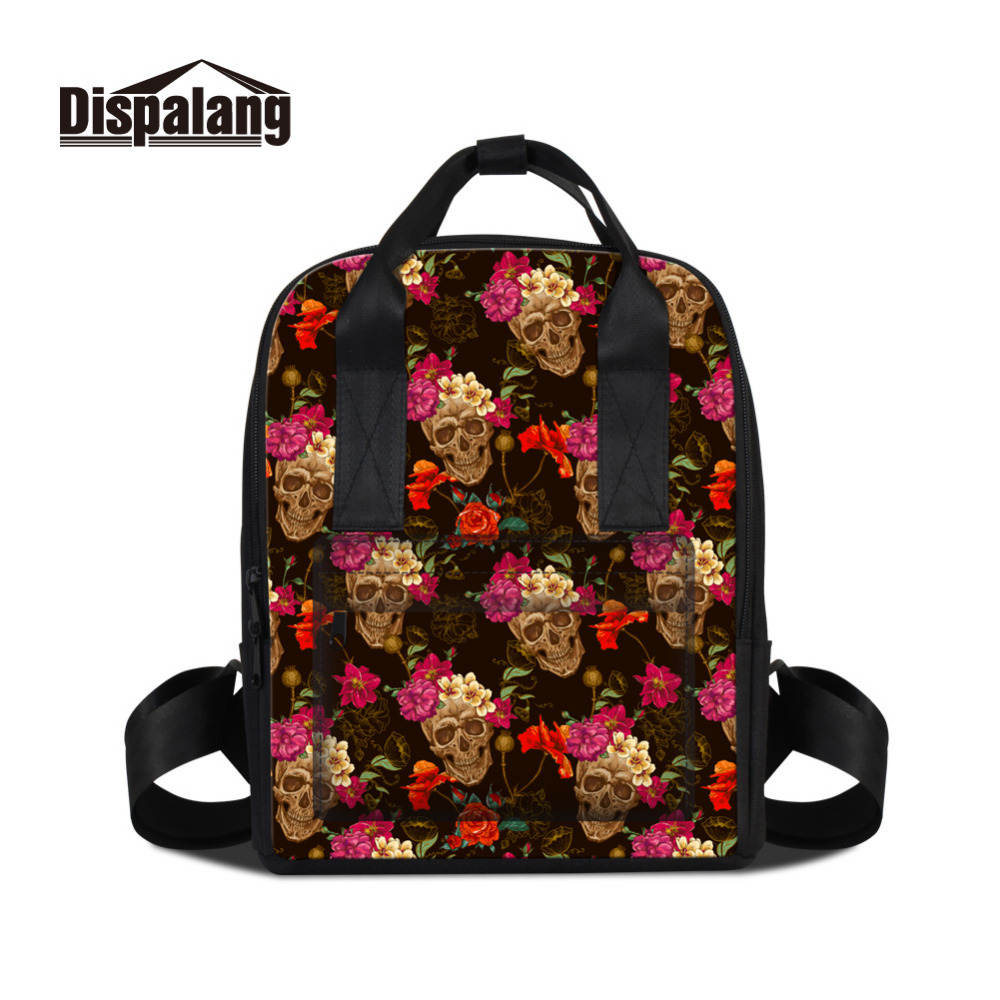 Dispalang Design Backpack For Women Skull Flower Printing Laptop Backpacks For Girls School Bags Ladies Casual