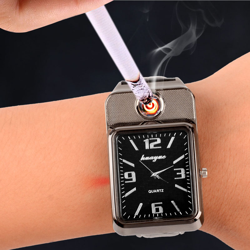 Watches men 2 in 1 Men's Quartz Watch&USB Charging Electronic Flameless Windproof saat Cigarette Lighter relogio masculino 3132 lighter watch men s sports casual quartz watches with leather strap windproof flameless cigarette lighter usb charging f665