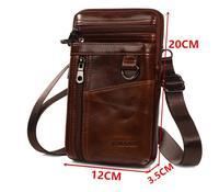 Fashion Men Genuine Leather Cross body Bags Waist Packs Male Bags for Xiaomi Mi Max 3/Mi Max 2/Blackview BV6800 pro/Oukitel K7