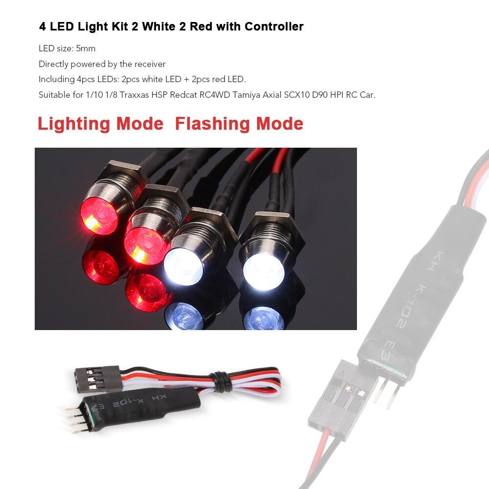 4 LED Lamp 2 White /& 2 Red Car Lights for 1//10 SCX10 D90 HPI RC Rock Crawler New