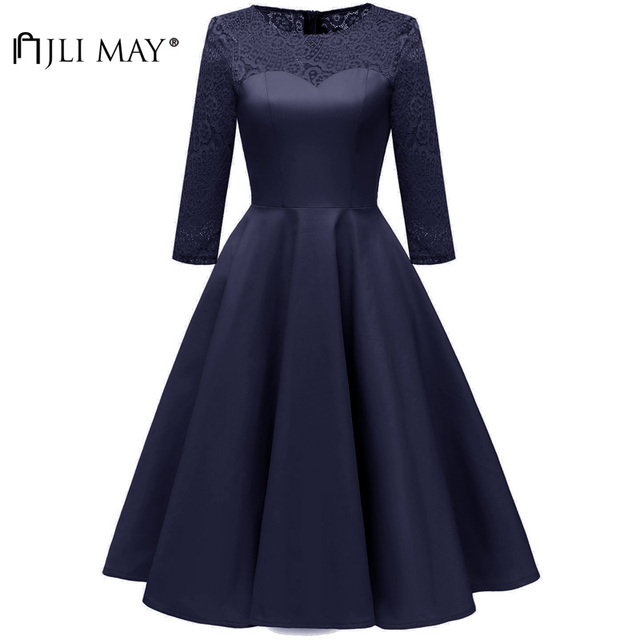 JLI MAY Autumn Silk Lace Party Dress Women Clothes Elegant Formal  Homecoming Ball Gown 3 4 Sleeve O-Neck Evening vintage Blue ff6f242b2540