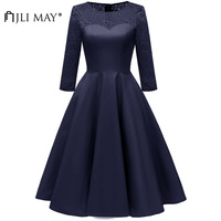 JLI MAY Autumn Silk Lace Party Dress Women Clothes Elegant Formal Homecoming Ball Gown 3/4 Sleeve O Neck Evening vintage Blue