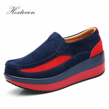 Hosteven Womens Shoes Flat Sneakers Ballet Genuine Leather Platform Woman Shoes Slip On Female Womens Loafers Moccasins Shoe