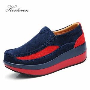 Image 1 - Hosteven kadın ayakkabısı Düz Ayakkabı Bale Hakiki Deri Platformu Kadın Ayakkabı Üzerinde Kayma Kadın kadın Loaferlar Moccasins Ayakkabı