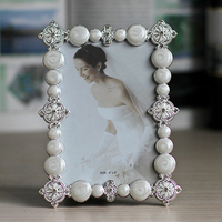 European Rectangle Shaped Shiny Silver Plating with White Beaded and Jeweled 4x6 inches Metal Photo Frame