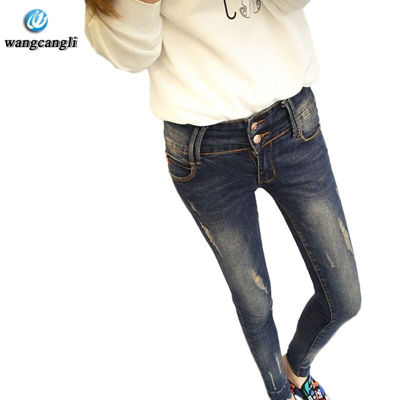 Holes Plus Size XL-5XL Jeans Quality Cotton Skinny Blue Slim Pencil Jeans For Women 2017 New XXXL Arrival Designer jeans womens смартфон highscreen fest xl pro blue