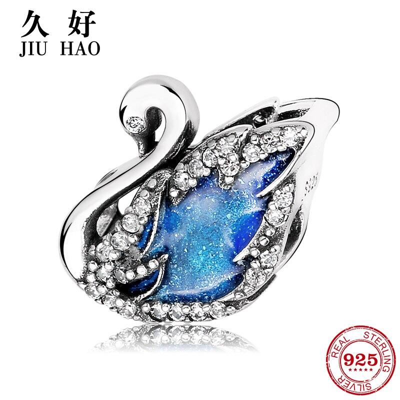 Fairy tale 925 Sterling Silver glittering Blue Swan zircon Beads fashion 2018 Fit Original Pandora Charms Bracelet Jewelry