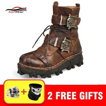 b3fa8f15 Крутые Мужские ботинки в байкерском стиле ретро натуральная коровья ...