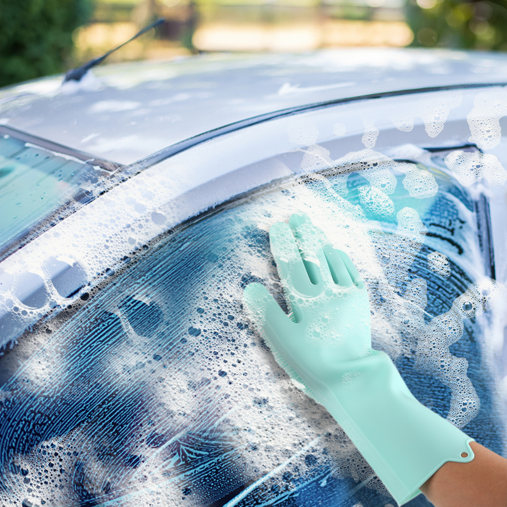 Food Grade Dishwashing Gloves Magic Rubber Silicone Dish Washing Gloves And Kitchen Scrubber 10