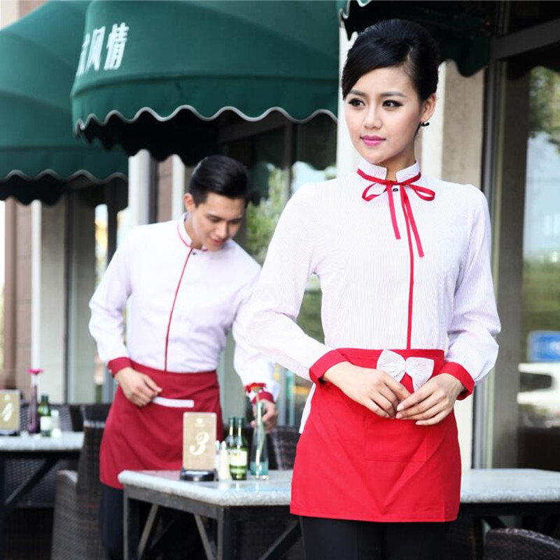 Waitress Overalls Long Sleeves Working Clothes Uniform Chinese Restaurants Hotel Catering High Quality Waiter Men Jacket H2353