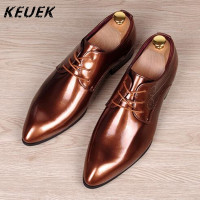 British style Vintage Men Flats Cow Split leather Brogue Shoes Pointed Toe Casual Dress Business shoes Oxfords 022