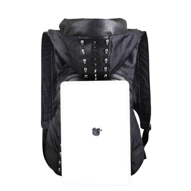 Horizontaux Crâne En Cuir Sac Sacs 3d Rivets Dos Vêtements Capot Bonnet Nouveau De Hiphop Mode À Homme Avec SUO4Bq5w