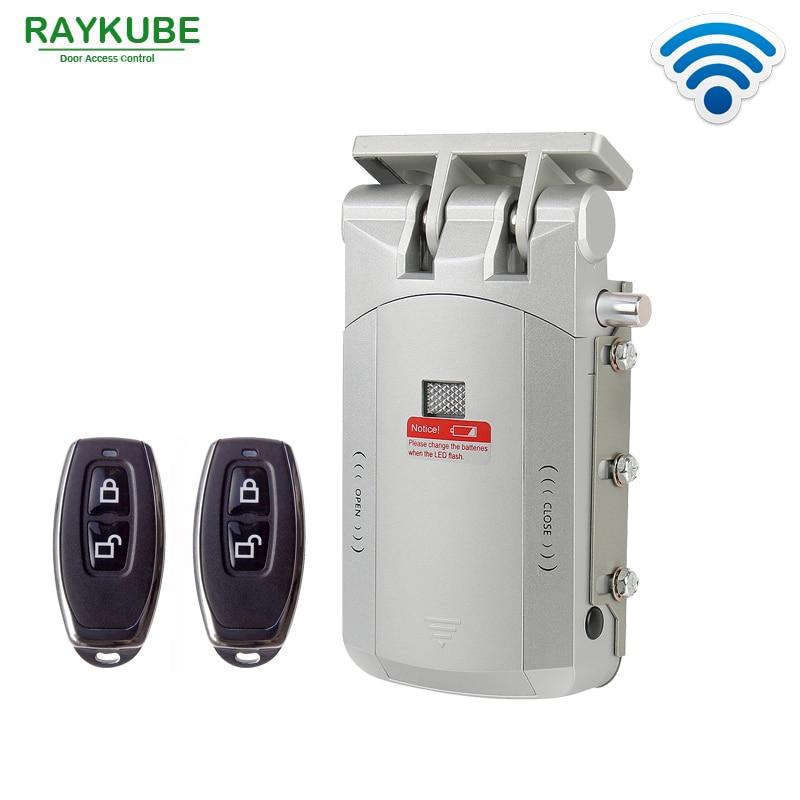 RAYKUBE Electric Door Lock Wireless Control With Remote Control Open Close Smart Lock Security Door Easy