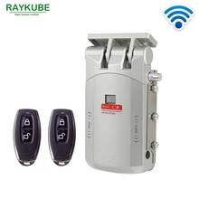 RAYKUBE elektryczny zamek do drzwi sterowanie bezprzewodowe z pilotem otwieranie i zamykanie inteligentny zamek drzwi antywłamaniowe łatwa instalacja R W03