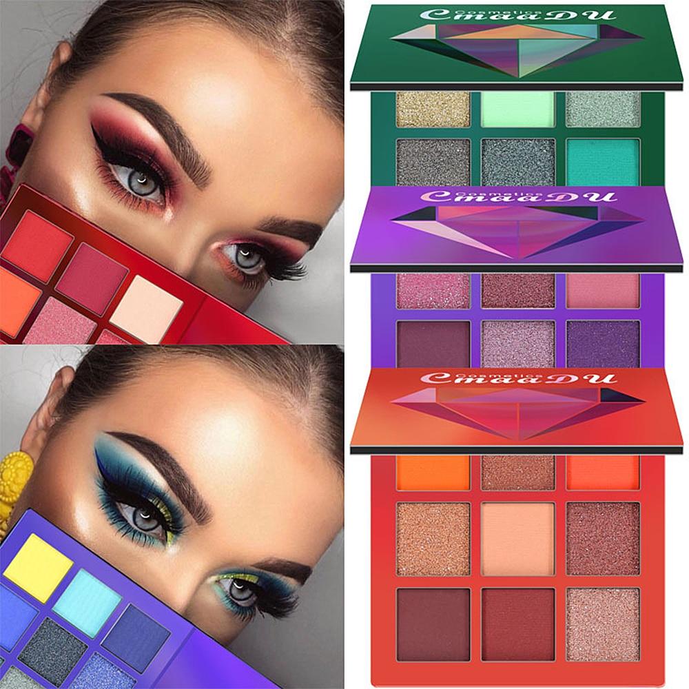 CmaaDu New Charming Glitter Diamond Eyeshadow Palette 9 Colors Make up Palette Matte Shimmer Pigmented Eye Shadow TSLM2