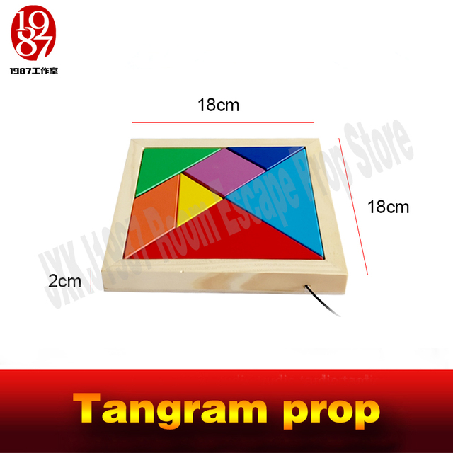 Tangram prop for room escape game adventurers collect all color pieces to figgure out the puzzle clues  and  unlock chamber room