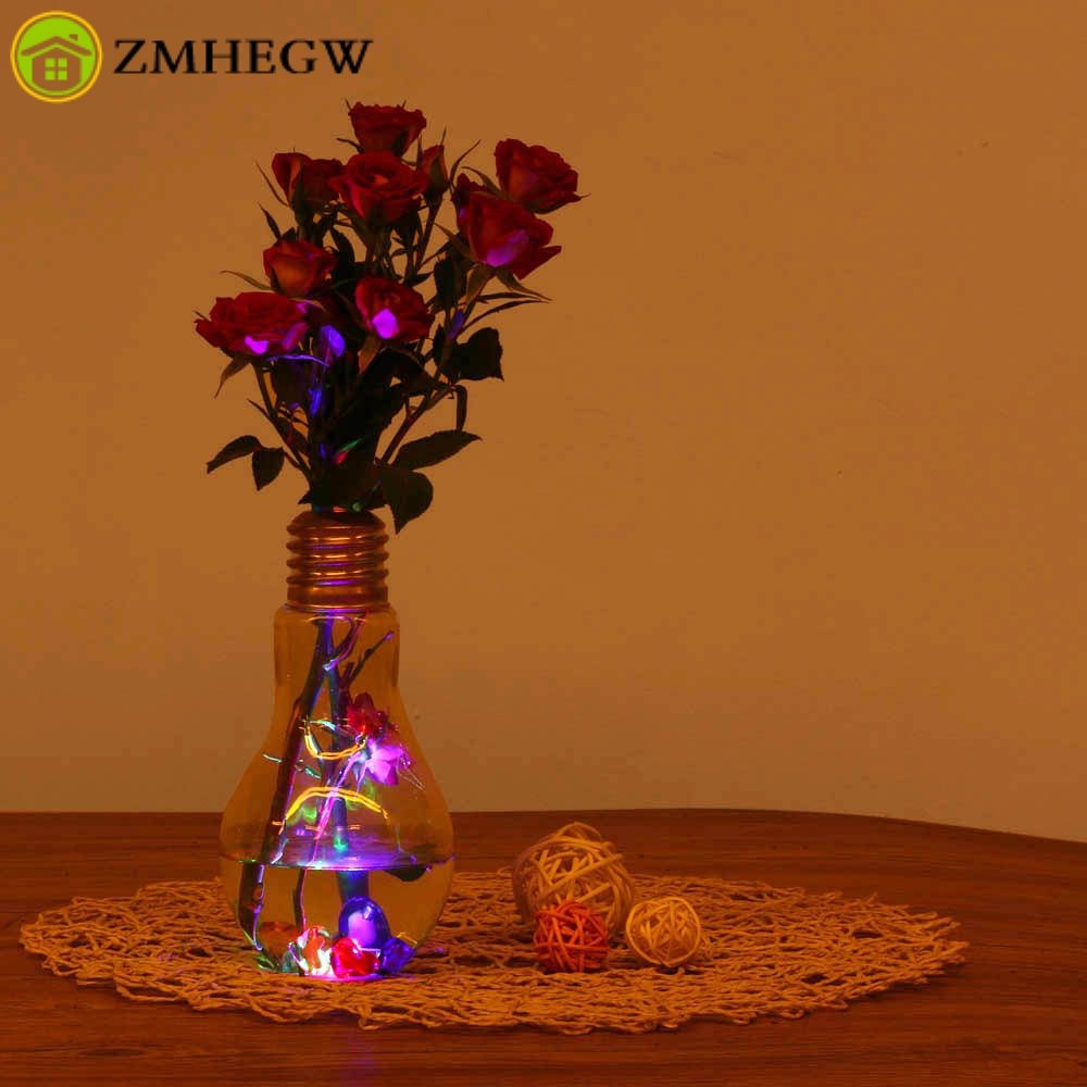 vase Glowing Light Bulb Shape Stand Plant Flower Vase Hydroponic Container Bottle wedding and home decoration vaso decorativo