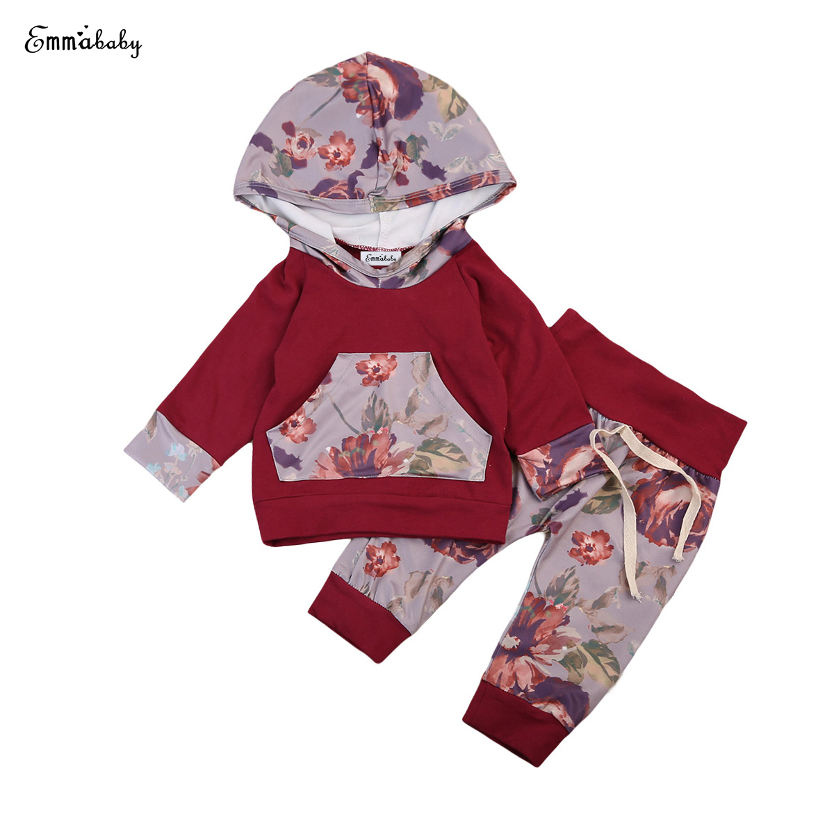Baby Clothing 2pcs Floral Newborn Baby Boy Girls Clothes Floral Hooded T-shirt Tops+Pants Outfits Set