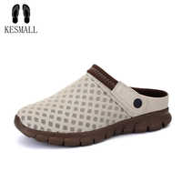 KESMALL Men Soft Slippers Summer Lovers Gradient Large Size Sandals Breathable Upstream Shoe with Drain Hole Quick Drying Loafer