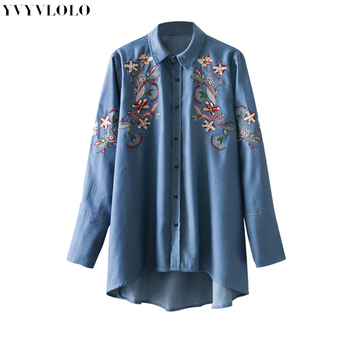 New Blouse Women 2018 Spring Turn-down Collar  Flower Embroidery Denim Shirt Fashion Style Long Sleeve Tops Casual Shirts Women