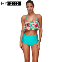 HYCOOL Brazilian Bikini Set Women Swimsuit 2017 Bathing Suit Flouncing Floral High Waist Strape Swim Suit