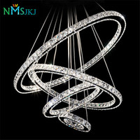 Remote Control LED K9 Crystal Chandelier Pendant Lamp for Dining Room Living Room Hotel with 4 Rings CE UL FCC LED