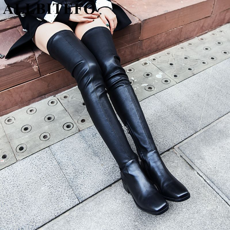ALLBITEFO brand soft elastic flock women boots fashion sexy girls over the knee boots Spring Autumn