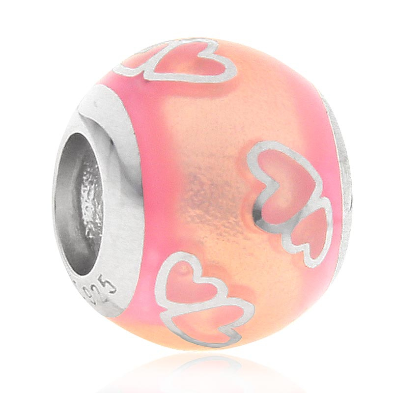 Choruslove High Class Enamel Full of Heart Charms 925 Sterling Silver Round Love Bead fit Pandora Style Valentine 39 s Day Bracelet in Beads from Jewelry amp Accessories
