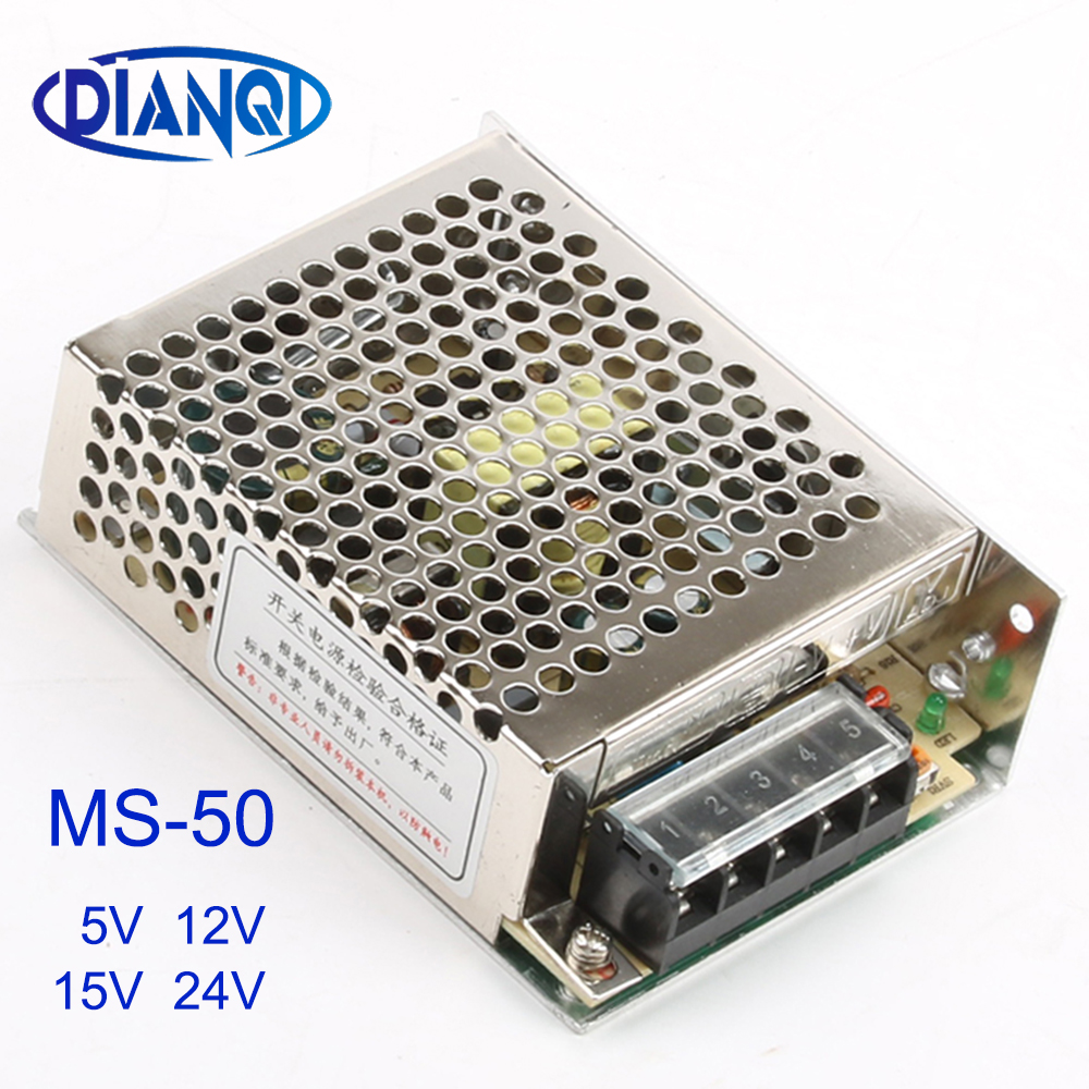 DIANQI MS-50-15 MS-50-24 power supply MS-50W 24v 12v 5v 15v mini size ac dc converter power supply unit dc voltage regulator image