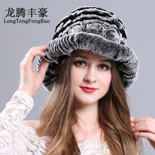 Female fur hat for Women Warm Genuine Fur Hats Rex Rabbit Winter Fur Caps Female Quality Casual Beanies Fur Cap Knitted Hats cap