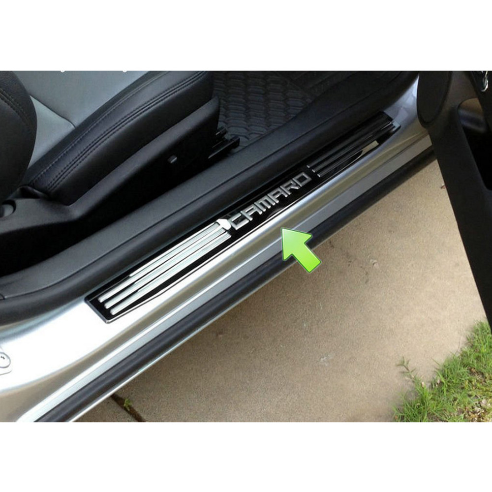 ФОТО 2Pcs/Set LED Light Illuminated Door Sill Scuff Plate Cover for GM Chevy Chevrolet Camaro 2010-2015 car styling auto accessories