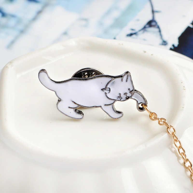 Yaratıcı Sevimli Küçük Beyaz Inci Kedi Broş Pins Chic moda takı Bijuteri Broş Kadınlar En Iyi Hediye Toptan Iğneler Ve Broşlar