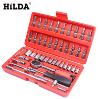 High Quality 46pcs 1/4 Inch Socket Set Car Repair Tool Box Ratchet Torque Wrench Combo Tools Kit Auto Repairing Hand Tool