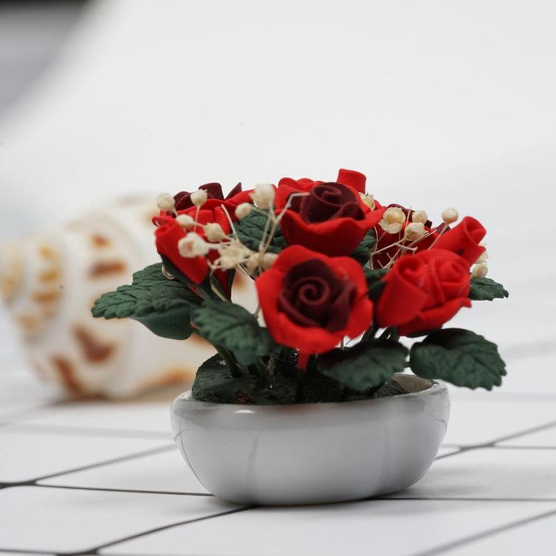 Dongzhur Ceramics Basin Rose Full Star Flower Pots Dollhouse Miniatures 1:12 Accessories Doll House Handmade Clay Flower Wwp6980 Toys & Hobbies