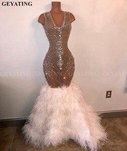 Image 2 - Robe de bal de sirène, strass, cristaux et plumes blanches, luxueuse robe de bal, robe de bal, Graduation, style africain, longue, 2020