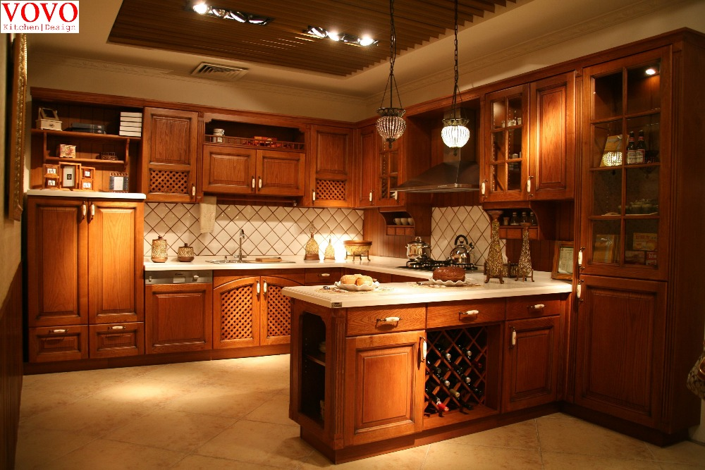 American Red Oak Kitchen Cabinet With Wine Rack Ventilation Holes