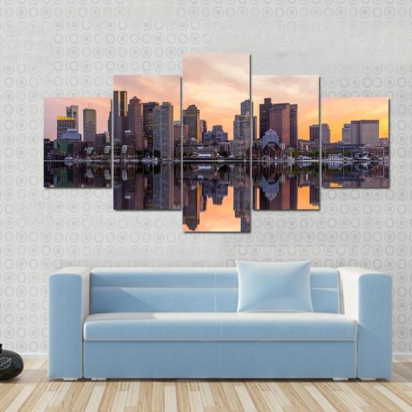 Home Decor Boston: 5 Pcs/Set Large Landscape Boston Downtown Canvas Print