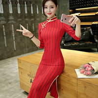Ao dai vietnam cheongsam modern qipao dress traditional Chinese clothing elegant ladies modified slim cheongsam XXXL AA3097 YQ
