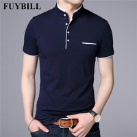 FuyBill воротник-стойка с коротким рукавом Футболка мужская 2018 весна лето новый стиль Топ Мужская брендовая одежда Slim Fit хлопковые футболки
