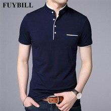 FuyBill Мандарин воротник короткий рукав Футболка для мужчин 2018 весна лето новый стиль Топ Мужская брендовая одежда Slim Fit хлопковые футболки