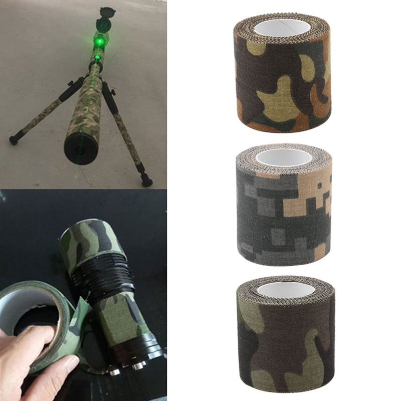 1PC 5M Self-adhesive Non-woven Camouflage Cohesive Hunting Camping Camo Stealth Tape